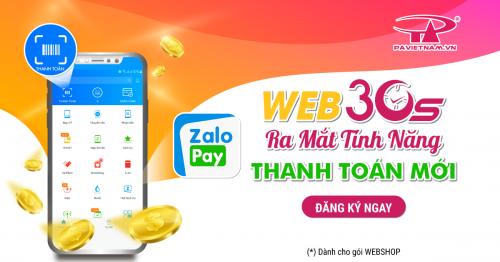 Thanh toán ZALOPAY đã được tính hợp cùng Web30s